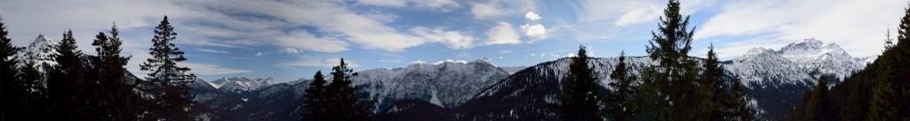 Panorama nach Süden von Gaichtspitze bis zur Leilachspitze